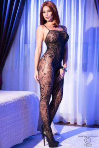 Bodystocking CR4097 schwarz Chilirose