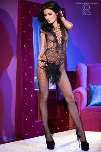 CR4102 Bodystocking schwarz Chilirose