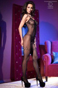 CR4106 Bodystocking schwarz Chilirose