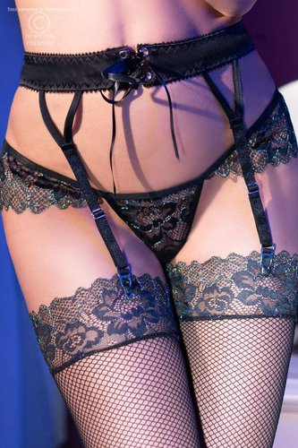 Garter Belt Set CR4298 schwarz Chilirose °