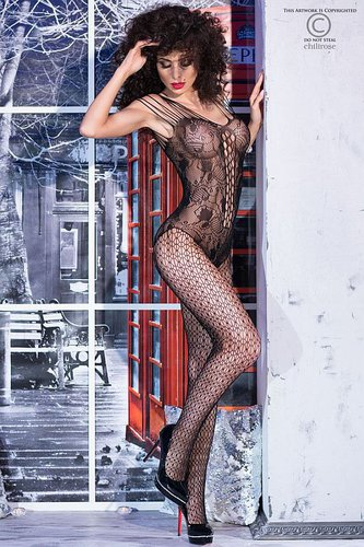 Bodystocking CR4233 schwarz Chilirose