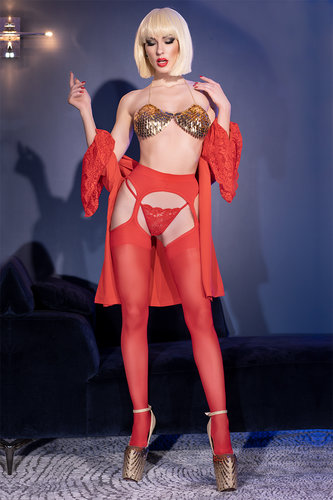 Garter Stockings CR4312 rot Chilirose